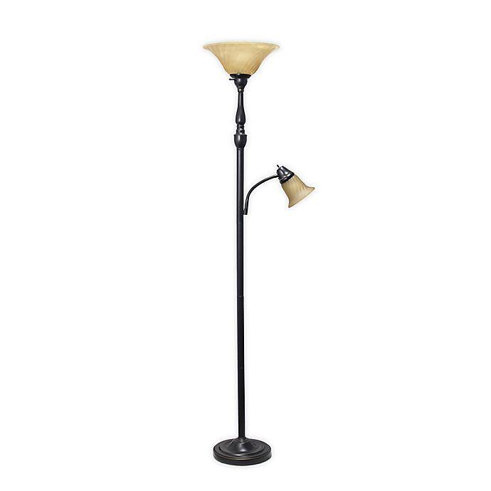 Alternate image 1 for Elegant Designs 2 Light Floor Lamp in Restoration Bronze/Amber