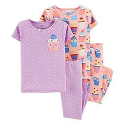 carter's® 4-Piece Cupcake Pajama Set in Purple