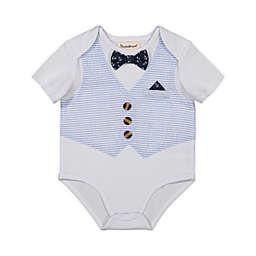 Beetle & Thread® Size 0-3M Bow Tie and Stripe Vest Bodysuit