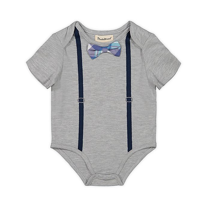 Alternate image 1 for Beetle & Thread® Plaid Bow Tie and Suspenders Bodysuit