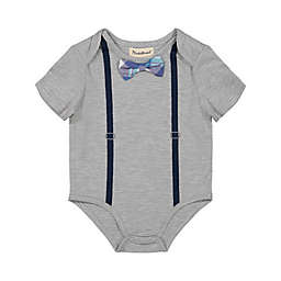 Beetle & Thread® Plaid Bow Tie and Suspenders Bodysuit