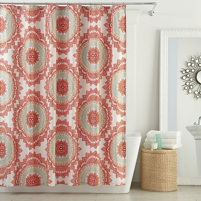 Bed Bath And Beyond Shower Curtain anthology™ bungalow shower curtain in coral | bed bath & beyond