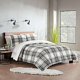 UGG® Avery 2-Piece Reversible Twin Comforter Set in Black/White Plaid