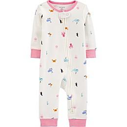 carter's® Beach 2-Way Zip Sleep & Play Pajama in White/Pink