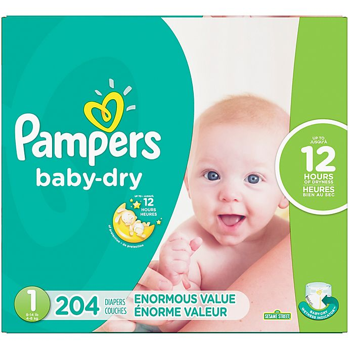 Alternate image 1 for Pampers® Baby Dry™ 204-Count Size 1 Pack Disposable Diapers