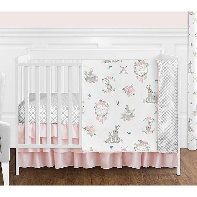 Alternate image 1 for Sweet Jojo Designs Floral 4-Piece Crib Bedding Set in Pink/Grey