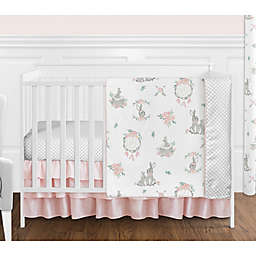 Sweet Jojo Designs Floral 4-Piece Crib Bedding Set in Pink/Grey
