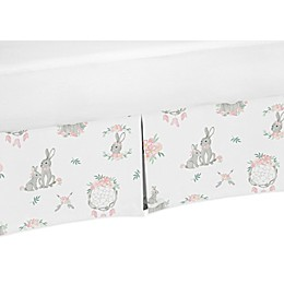 Sweet Jojo Designs Bunny Floral Crib Skirt in Pink/Grey