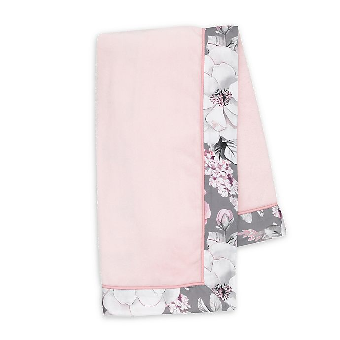 Alternate image 1 for Lambs & Ivy® Botanical Baby Stroller Blanket in Pink/Grey