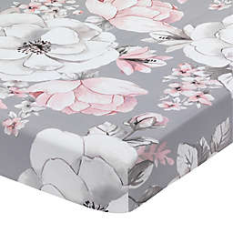 Lambs & Ivy® Botanical Baby Fitted Crib Sheet in Pink/White/Grey
