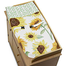 Sweet Jojo Designs Sunflower Changing Pad Cover in Yellow/Green