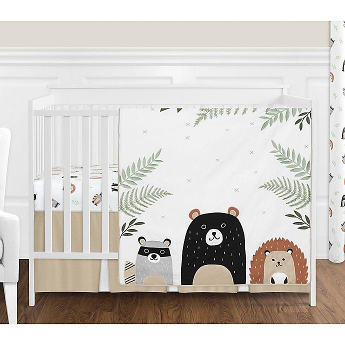 Sweet Jojo Designs Woodland Pals Reversible 4 Piece Crib Bedding Set In Beige Black Bed Bath Beyond