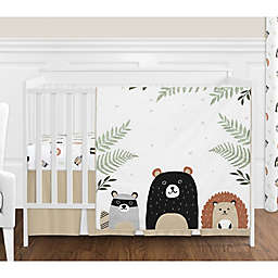Sweet Jojo Designs Woodland Pals Reversible 4-Piece Crib Bedding Set in Beige/Black