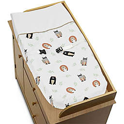 Sweet Jojo Designs Woodland Pals Changing Pad Cover in Beige/Black