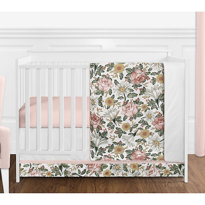 Alternate image 1 for Sweet Jojo Designs Vintage Floral 4-Piece Crib Bedding Set in Pink/Green