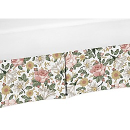 Sweet Jojo Designs Vintage Floral Crib Skirt in Pink/Green