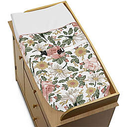 Sweet Jojo Designs Floral Changing Pad Cover in Pink/Green