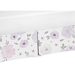 Sweet JoJo Designs Watercolor Floral Crib Skirt in Lavender/Grey