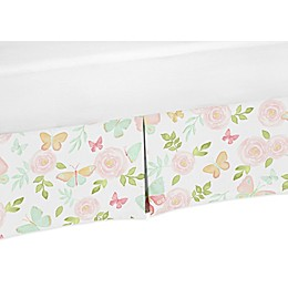 Sweet Jojo Designs Butterfly Floral Crib Skirt in Blush/Green