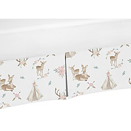 Sweet Jojo Designs Deer Floral Crib Skirt in Blush/Green