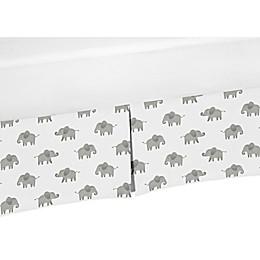 Sweet Jojo Designs Elephant Crib Skirt in Grey/White