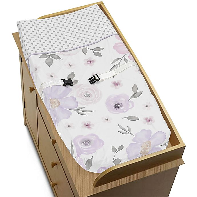 Alternate image 1 for Sweet Jojo Designs Floral Changing Pad Cover in Lavender/Grey