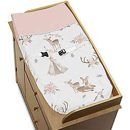 Sweet Jojo Designs® Deer Floral Changing Pad Cover in Pink/Mint