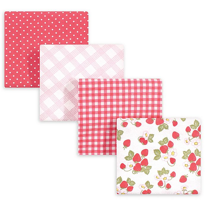 Alternate image 1 for hudson baby 4-Pack Country Life Recieving Blanket in Red
