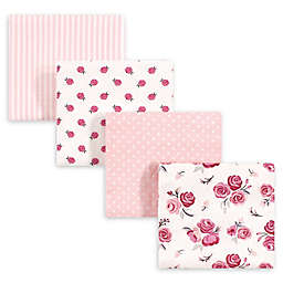 hudson baby 4-Pack Rose Recieving Blanket in Red