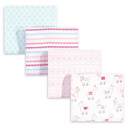 hudson baby 4-Pack Llama Cotton Blanket in Pink