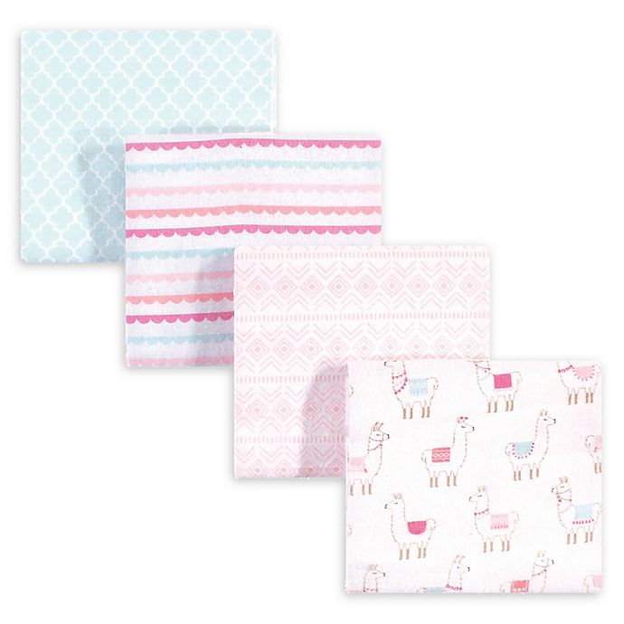 Alternate image 1 for hudson baby 4-Pack Llama Cotton Blanket in Pink