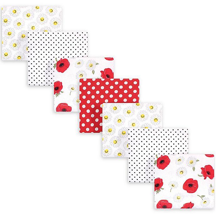 Alternate image 1 for hudson baby 7-Pack Poppy Cotton Receiving Blanket in Red
