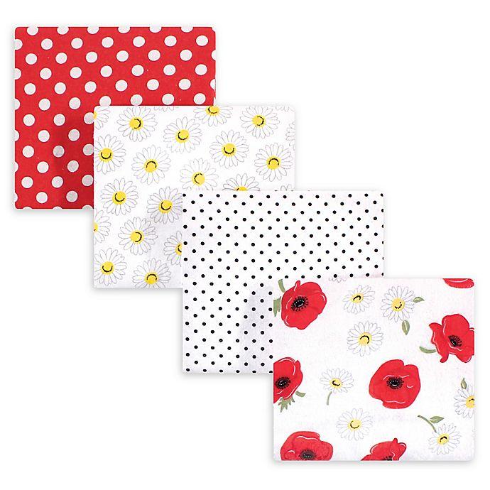 Alternate image 1 for hudson baby 4-Pack Poppy Cotton Receiving Blanket in Red