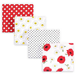 hudson baby 4-Pack Poppy Cotton Receiving Blanket in Red