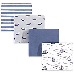 hudson baby 4-Pack Sailboat Cotton Receiving Blanket in Blue