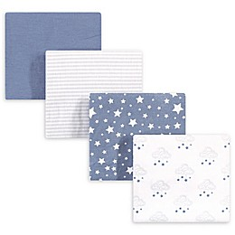 hudson baby 4-Pack Starry Cotton Receiving Blanket in Blue