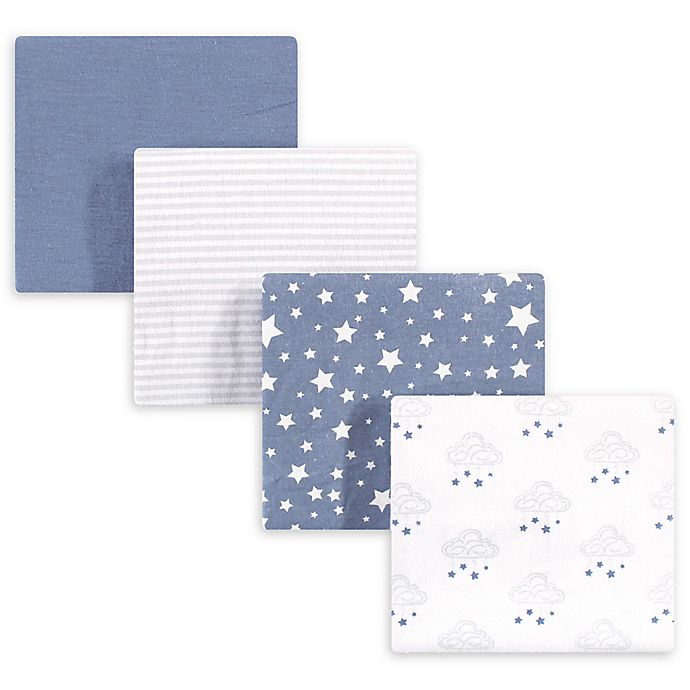 Alternate image 1 for hudson baby 4-Pack Starry Cotton Receiving Blanket in Blue