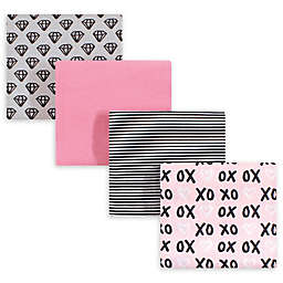 hudson baby 4-Pack XOXO Cotton Receiving Blanket in Pink