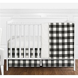 Sweet Jojo Designs Buffalo Check 4-Piece Crib Bedding Set in Black/White