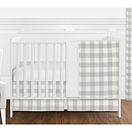 SWEET JOJO Designs Buffalo Check 4-Piece Crib Bedding Set in Grey/White