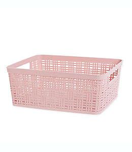 Canasta mediana de polipropileno Starplast de plástico color rosa blush