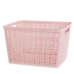 Starplast Plastic Wicker Large Storage Basket in Blush