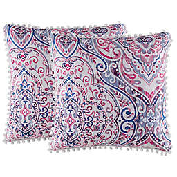 Isaac Mizrahi Home Natalia Square Throw Pillows (Set of 2)