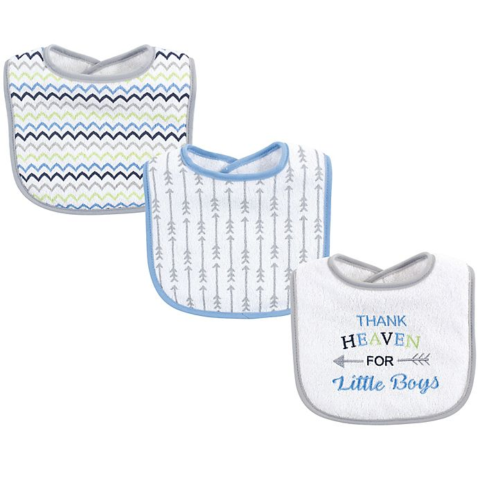 Alternate image 1 for Luvable Friends® 3-Pack Boy Arrow Drooler Bibs in White