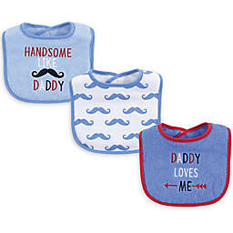 Luvable Friends® 3-Pack Boy Daddy Drooler Bibs in Red
