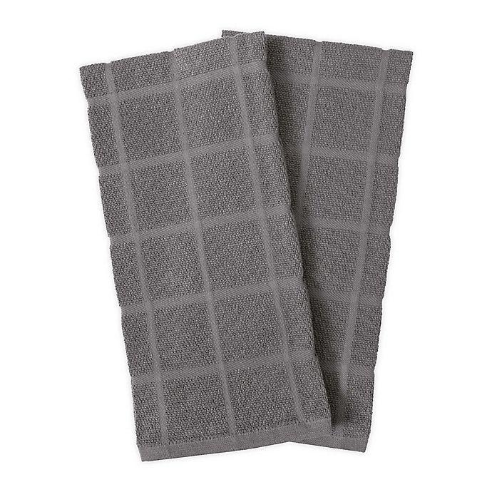Alternate image 1 for KitchenSmart® Colors 2-Pack Solid Windowpane Kitchen Towels