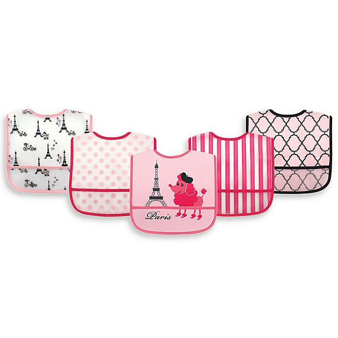 Alternate image 1 for Luvable Friends® 5-Pack Paris Bibs in Pink