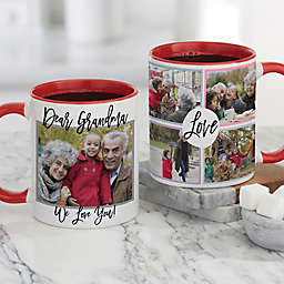 Love Photo Collage Personalized Coffee Mug for Her 11 oz. in Red