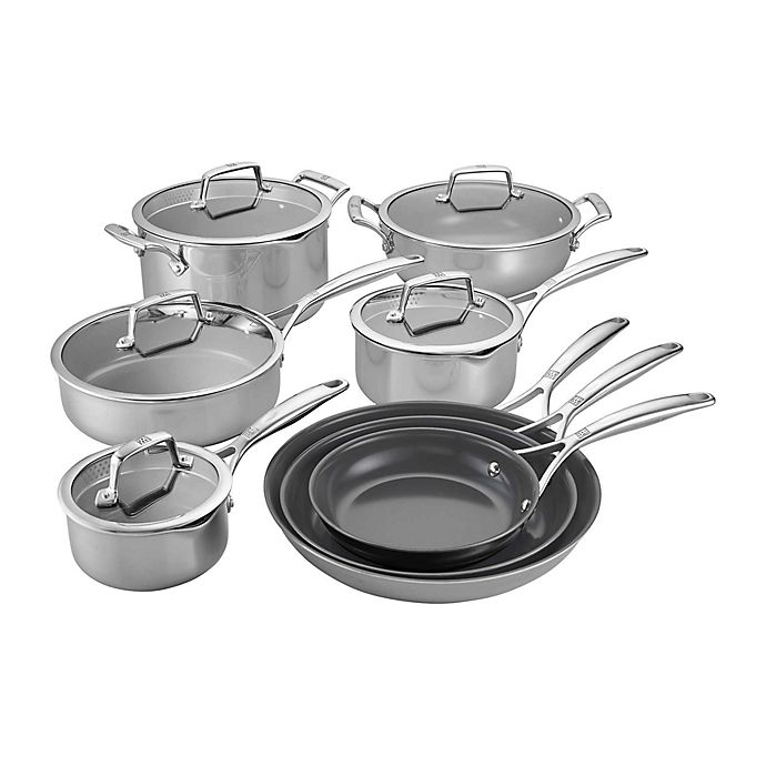 Alternate image 1 for Zwilling® J.A. Henckels Energy Plus Nonstick Stainless Steel 13-Piece Cookware Set