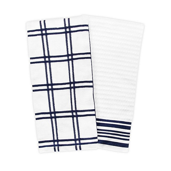 Alternate image 1 for KitchenSmart® Colors 2-Pack Plaid Windowpane Kitchen Towels
